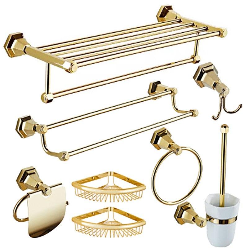New Bathroom Accessories Accessible Luxury Copper Towel Rack set Golden Bathroom Toilet Towel Rack bathroom hardware accessories