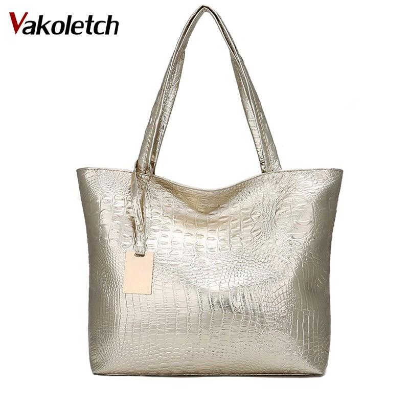 Brand Fashion Casual Women Shoulder Bags Silver Gold Black Crocodile Handbag PU Leather Female Tote Bag Ladies Hand Bag KL585