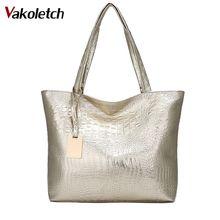 bfead8019ce23 Marca de moda Casual mujeres bolsas de hombro de oro plata Negro Bolso de  cocodrilo de cuero de la PU de mujer bolso de mano de .