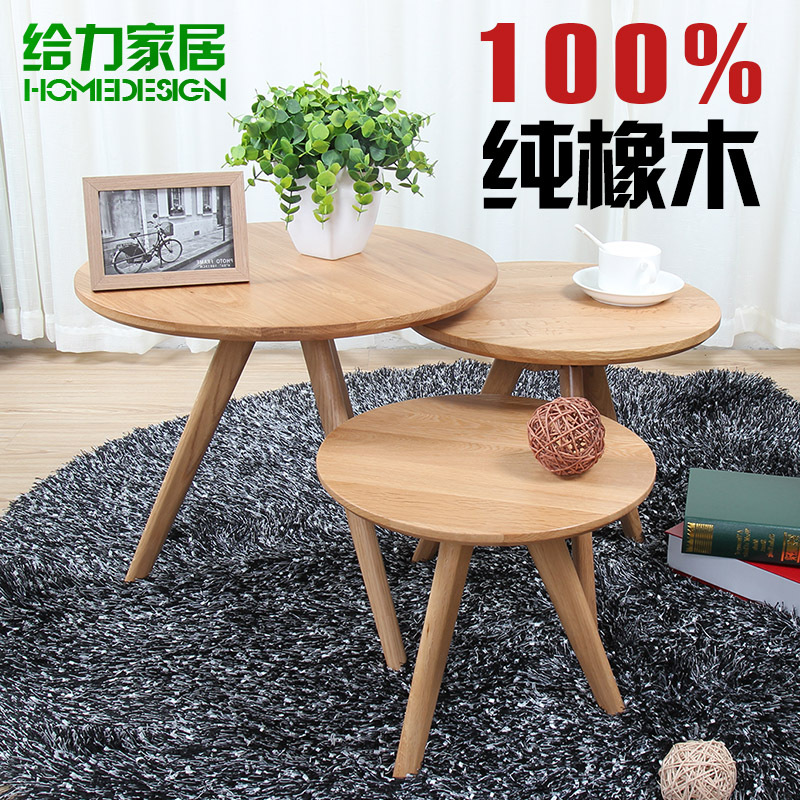 Small Round Coffee Table Solid Wood Ikea Simple Scandinavian Rounded Oak Futon Sofa Side A Few Units In Tables From Furniture On