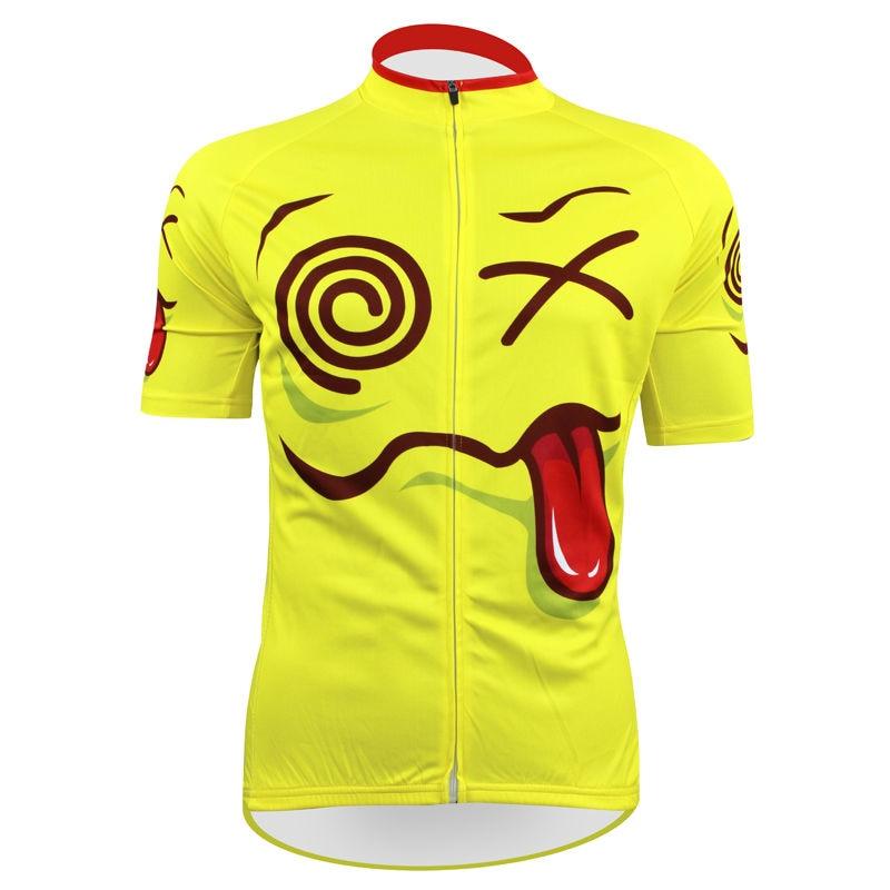 ФОТО Alien SportsWear Exaggerated Vertigo Pattern Men top Sleeve Cycling Jersey Summer Yellow bike top Size XS To 5XL