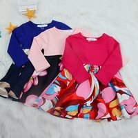Cotton Girls Dress Spring Autumn Cute Kids Flower Patchwork Dress For Girls Princess Dress Children Girls