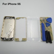 Gold For iPhone 5S Metal Middle Frame Back Cover Housing Replacement side button front glass frame