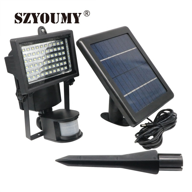SZYOUMY Solar Powered Outdoor Led Garden Lights 60 Leds PIR Body Motion  Sensor Solar Floodlights Spotlights