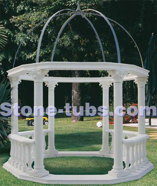 Blanc naturel marbre kiosque en plein air simple avec for Conception jardin anglais