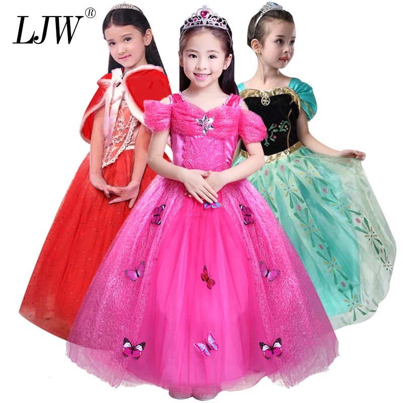 Baby Girl Anna Elsa Dress High-Grade Princess Cinderella Fancy kids clothes for Christmas Party Costume Snow Queen Cosplay high quality girl dresses 2017 princess party dress kids anna elsa cosplay costume the snow queen christmas baby girl clothes