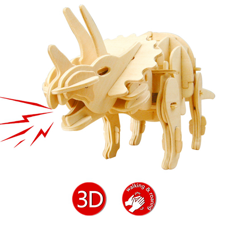 Robotime DIY Biting Walking Triceratops Sound Control Dinosaur Toy 3D Wooden Assembly Mode Gift for Children Toy Hobbies D430 robotime 3d puzzle dinosaur style wooden educational toy for kids