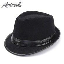 Aetrends  2017 Inglaterra estilo Fedora Jazz sombrero hombres vintage  fieltro de lana invierno sombrero 140ec6fb4de