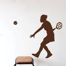 Woman Tennis Player Silhouette Wall Decal  Mural Sport Girl Playing Art Sticker Home Room Decor Decals M-43