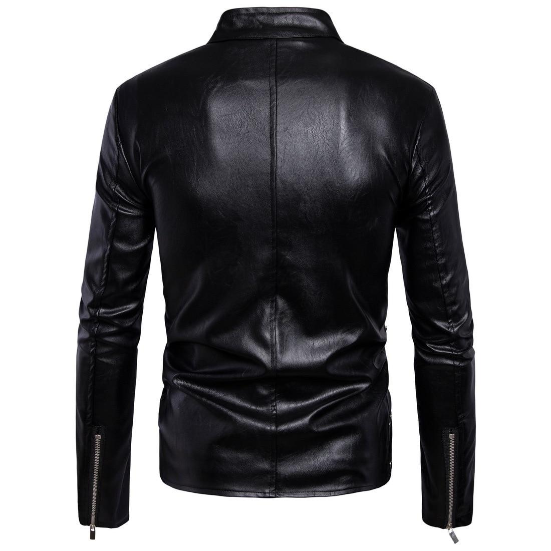 Couro Multi Masculina Nouveau Jaqueta Moto Vestes Cuir De En Manteaux 5xl fermeture Éclair Biker Mode Hommes Noir x6wpqgR