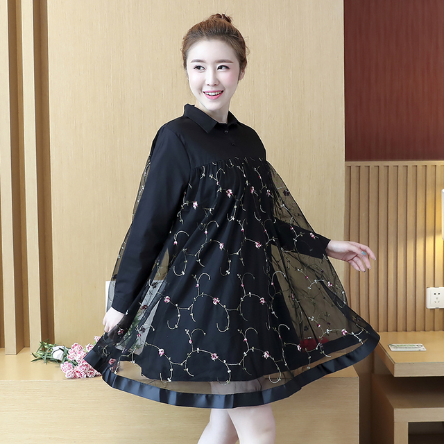 Plus Size 2018 New Spring Women dress Mesh Loose Long Fat Embroidery Dresses Black 1904