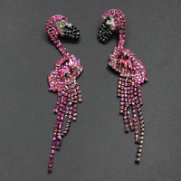 Europe And The Fashion South Korea Black Mouth Bird Earrings Luxury Exaggerated Full Of Drills Long
