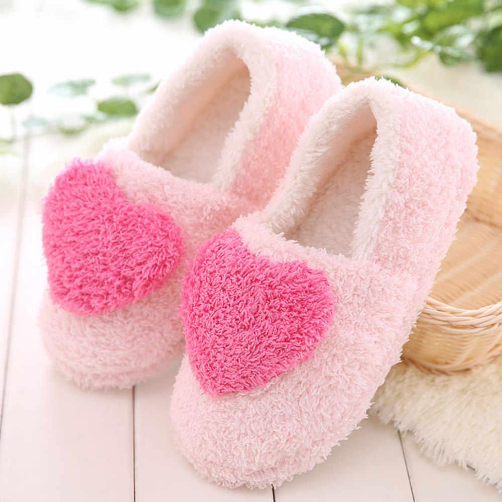 Plat d'hiver en forme de coeur Bacon's home avec des pantoufles en coton rembourré troupeau solide hiver pantoufles d'intérieur dames doux pantoufles # ZC