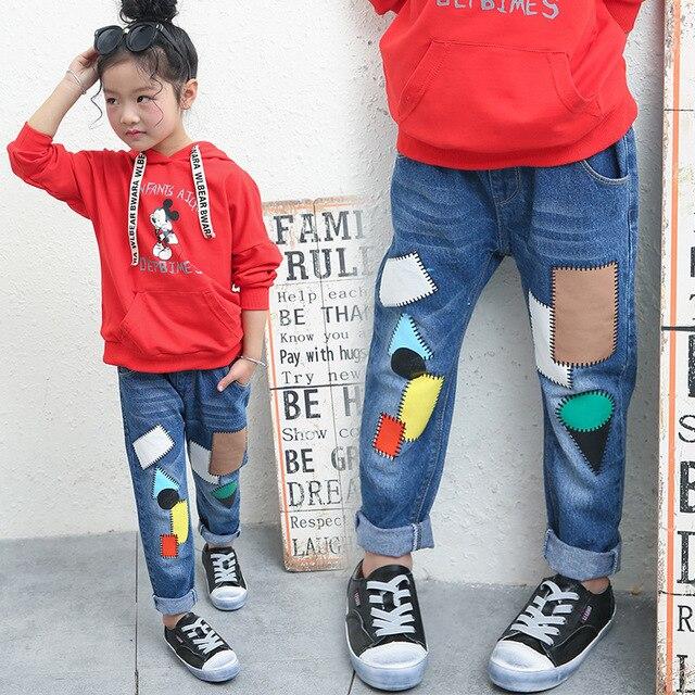 Coole Kinderkleding.Baby Children S Pants 2017 Spring Color Block Print Girls Jeans