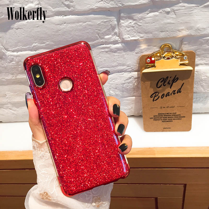 Soft Plating TPU Case for <font><b>Xiaomi</b></font> <font><b>Mi</b></font> 8 Lite SE A1 A2 6X 5X <font><b>Max</b></font> 3 Bling Glitter On Redmi Note 6 Pro 6A 4X Redmi 5A 5 Plus S2 Case image