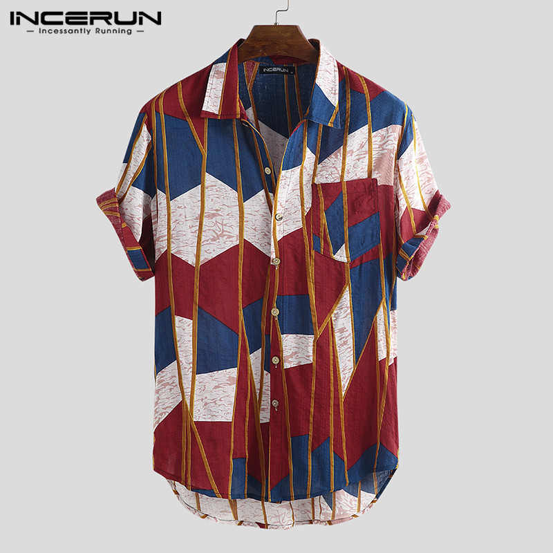 INCERUN 2020 Men Hawaiian Shirt Print Short Sleeve Lapel Neck Casual Tops Fashion Vacation Beach Brand Shirts Men Chemise S-5XL