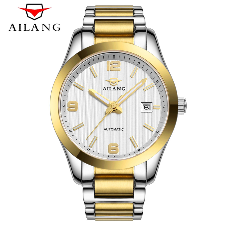 Waterproof 50M Fashion Rose gold Watch Men Full Steel Casual Automatic Mechanical Clock Luminous Male Watches Top Brand Relogio nakzen men quality mechanical watch gents full steel business dress clock male fashion saphhire automatic waterproof 50m watches
