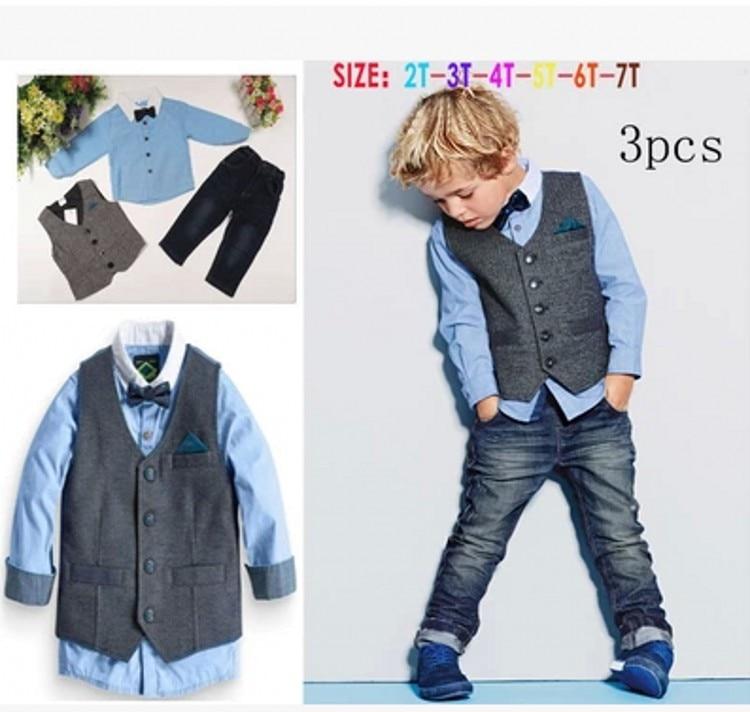 EMS DHL Free Shiping Wholesale  Little Boys Toddler Kids Children 3PC Suit Gentlemen Clothing Party Wear Shirt Waistcoat Jeans