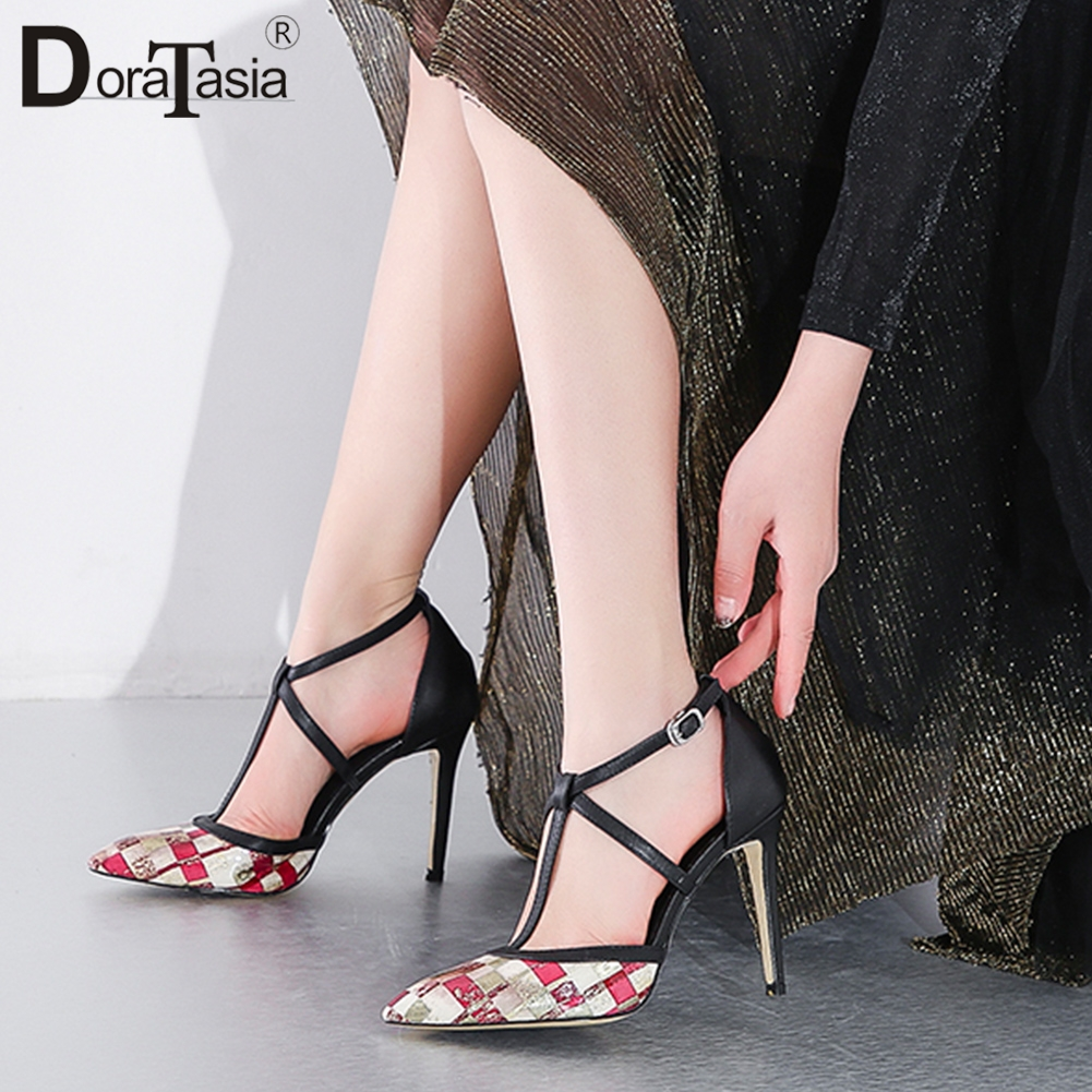 DORATASIA New Fashion 2019 High Quality Mix Color Summer Sandals Woman Shoes Thin High Heels Wedding Shoes Woman Sandals