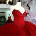 Lujo Pesado Abalorios Red Vestidos de Quinceañera Largo Puffy vestido de Bola de Cristal Del Amor de Tulle Vestidos De 15 Vestido de Fiesta Para Las Niñas