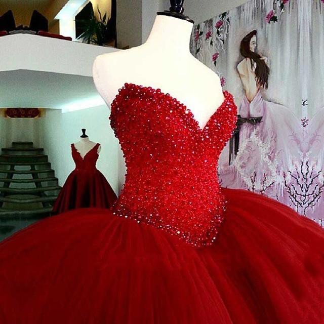 Luxo Pesado Beading Red Vestidos Quinceanera Longo Puffy vestido de Baile de Cristal Querida Tule Vestidos De 15 Vestido de Baile Para Meninas