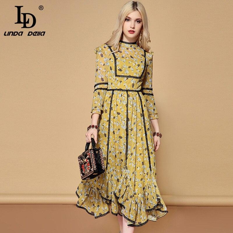 LD LINDA DELLA 2019 nouveau printemps mode piste décontracté asymétrique robe femmes vacances une ligne élégante jaune imprimé Floral robe