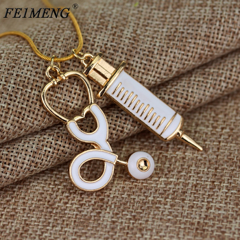 Doctor who Medical Stethoscope Syringe Necklace Snake Chain Needle Metal Pendant Necklaces For Women Nurses Fashion Jewelry