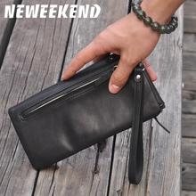 Lowest cheap price genuine leather day clutches women oil wax leather clutch bag designer three wristlets wallet purse 3018 fashion two way designer genuine alligator skin ladies women pink day clutches exotic crocodile leather wristlets card case bag