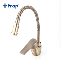 Frap Antique Style Bronze Kitchen Faucet Cold And Hot Water Mixer Tap Torneira Cozinha Flexible Nose