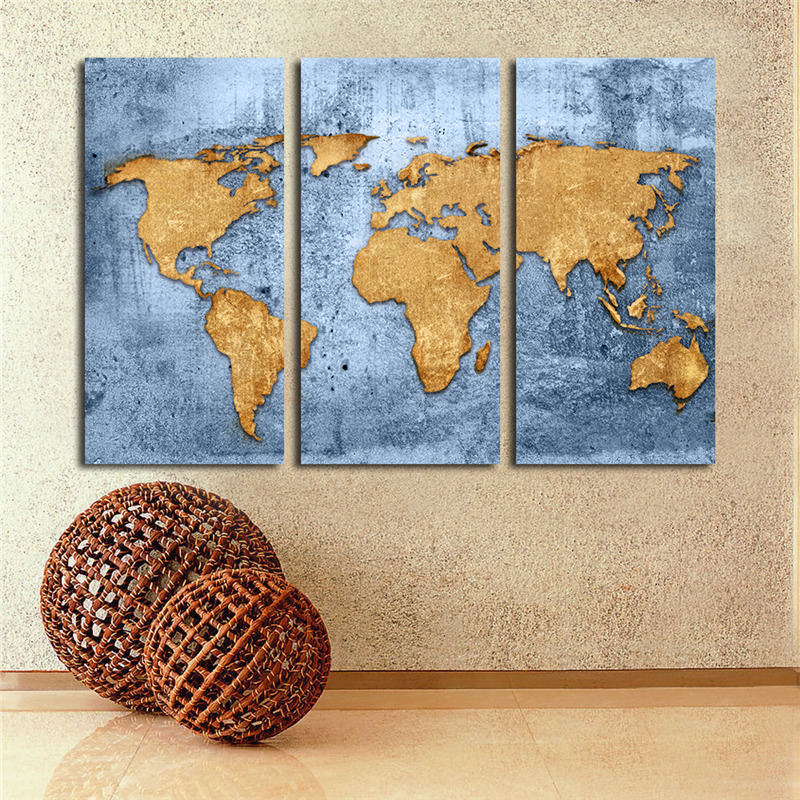 3 piece canvas oil painting vintage world map drawing prints on the painting size size1 35x70cm gumiabroncs