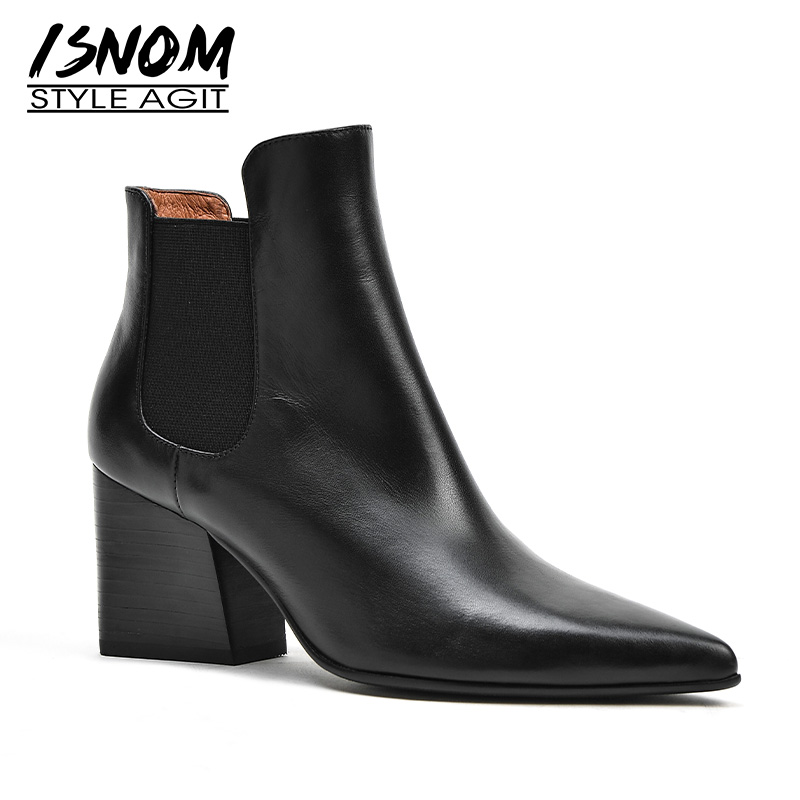 ISNOM Winter High Heels Women Ankle Boots Pointed Toe Footwear Genuine Leather Female Chelsea Boot Fashion