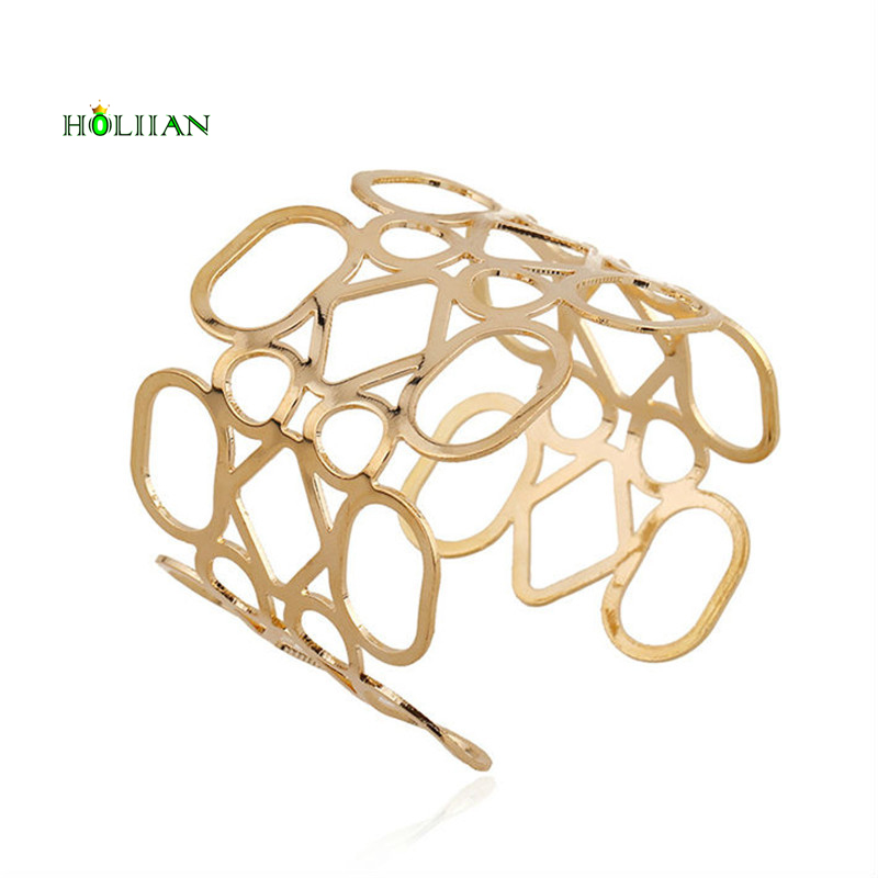 Hot women official Gold-color geometric bracelet wide wrap oval arm bangle cuff big modern fashion irregular jewelry bijoux