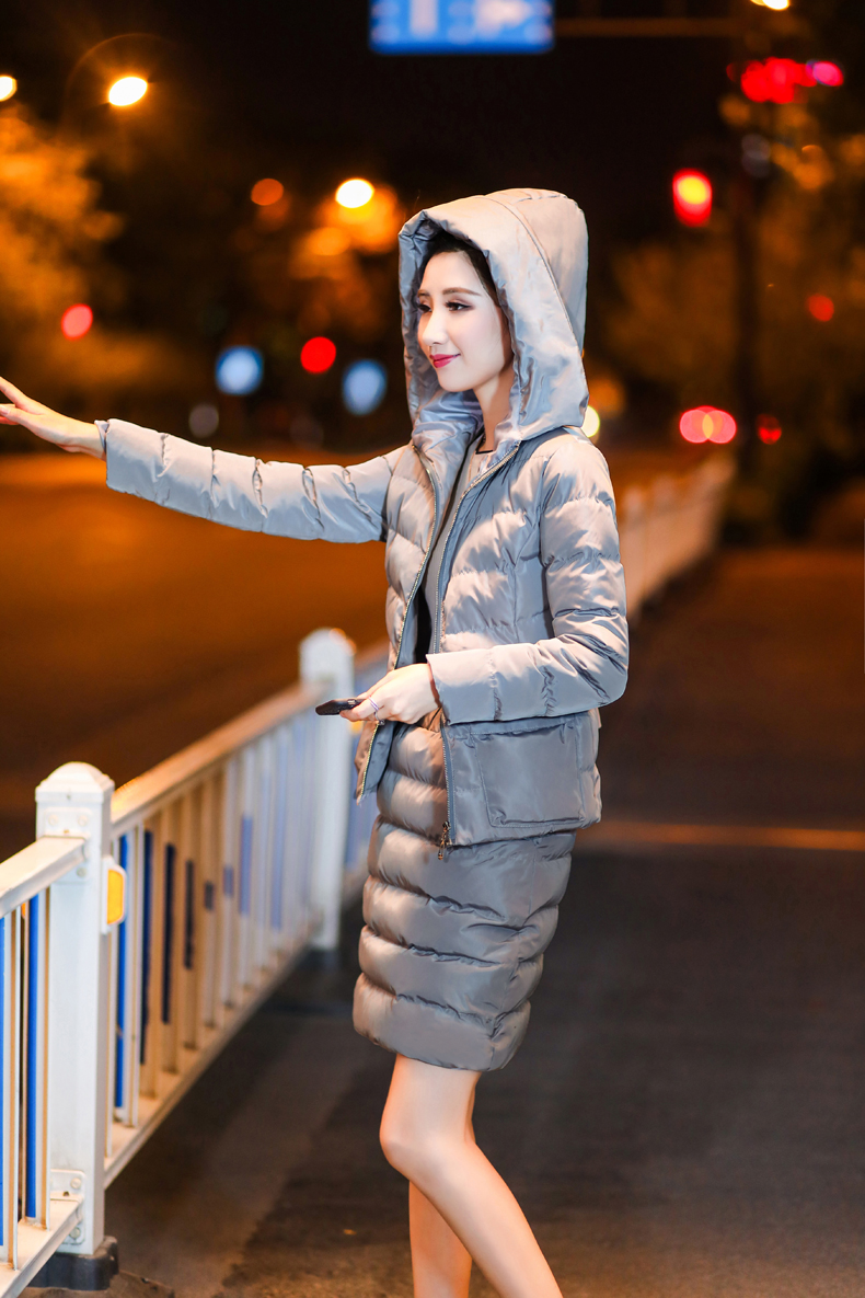 SexeMara Real Shot 2018 Winter New Down Cotton Suit Fashion Suit Female Small Fresh Warm Hooded Two-Piece Elegant Dress (22)