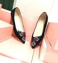 Sweety Suede Potined Toe Low Heel Pumps Butterfly Pattern High Quality Comfortable Elegant Celebrity Shoes