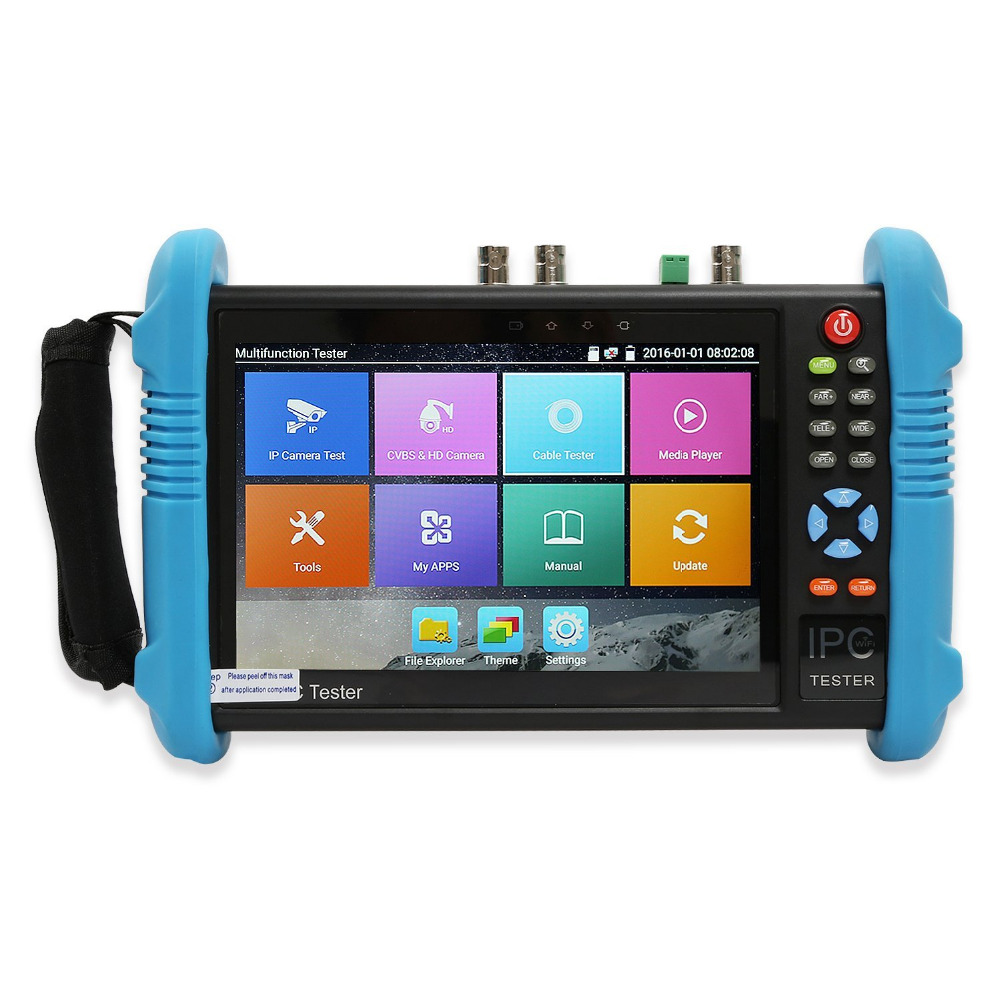 Wanglu 7 Inch 6 In 1 IP HD CCTV Tester Monitor Analog AHD TVI CVI SDI Camera Tester H.265 4K 8MP 4MP 5MP ONVIF WIFI POE 12V Out