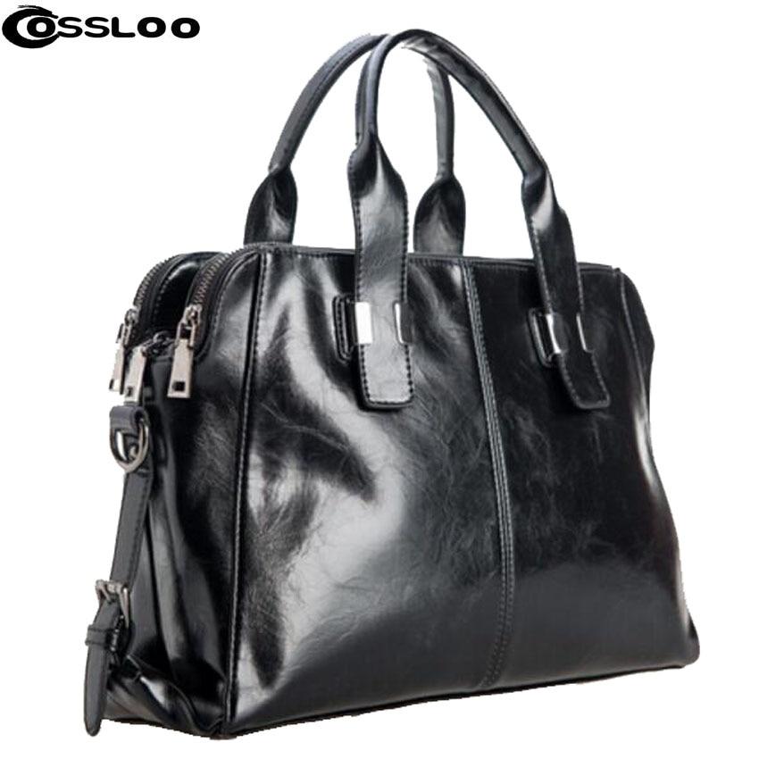 все цены на COSSLOO Hot women leather handbag 2017 fashion tote vintage bag leather crossbody bag shoulder bag brand women messenger bags онлайн