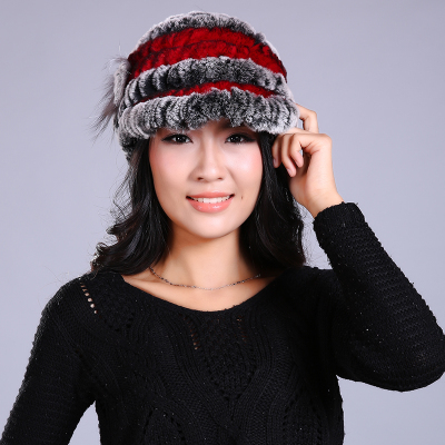 dbff1667d939b 2017 New Women Real Rabbit Fur Hat Fashion Knitted Genuine Rex Rabbit Fur  Cap Winter Warm Natural Fox Fur Headgear Beanies-in Skullies   Beanies from  ...