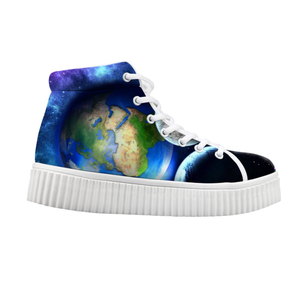 Noisydesigns women Flat Platform Shoes Blue Earth Planet Print High Top Canvas Creepers  ...