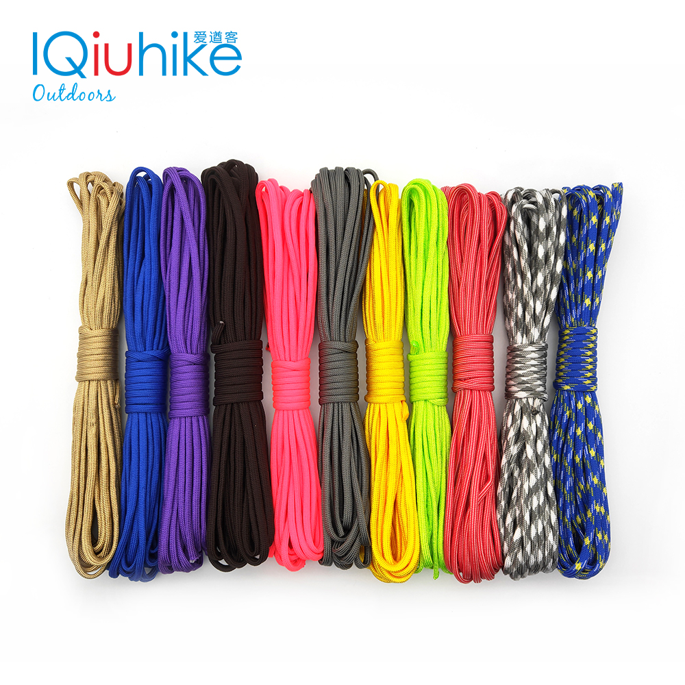 IQiuhike 208 Colors 5 Meters Paracord 550 Parachute Cord Lanyard Rope Spec Type III 7Strand Climbing Camping Survival Equipment