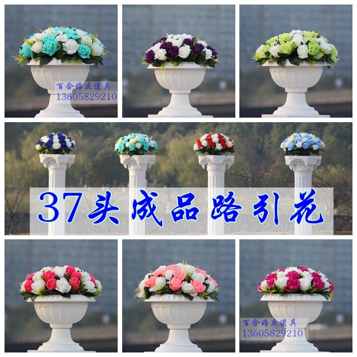 2014 년 결혼 도로 플라워 스탠드 웨딩 플라워 스탠드 결혼 로마 기둥 세트 (로마 기둥 + 꽃 + 꽃 냄비)