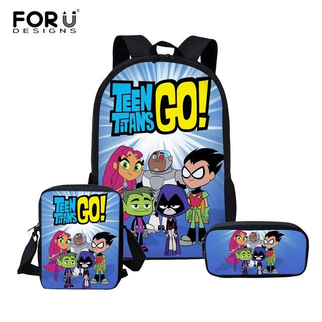 6b5531b72a FORUDESIGNS Cartoon Teen Titans Go Printing Backpack Boys School Bag Set  Daily Backpacks Children Backpack Kids mochila escolar