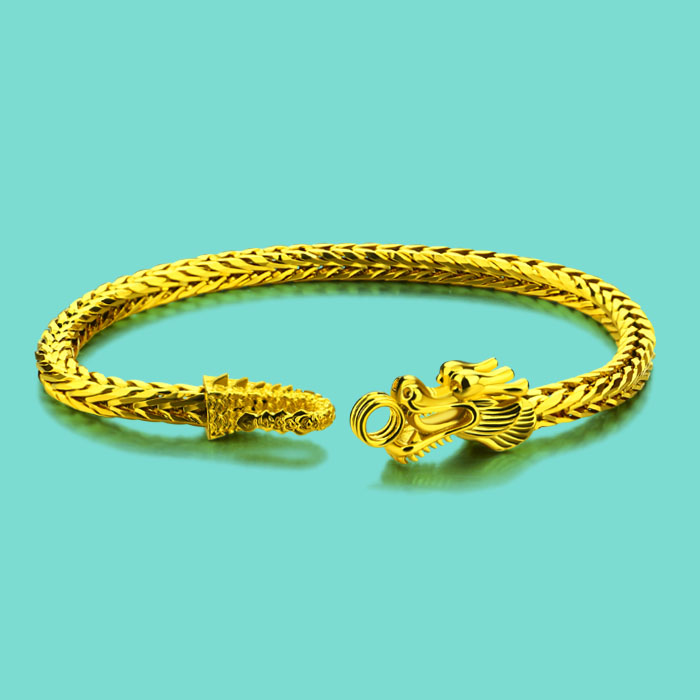 Chinese Style Men S Jewelry Gold Bracelet 24k Faucet Design Male Fashion Chain 5mm19cm Size Birthday Present Bijoux In Charm Bracelets From