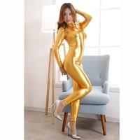 Bondage Restraints Bodysuit Erotic Lingerie Gold Straitjacket Catsuit Front Zipper Jumpsuit Women Costumes Dress Harness Sex