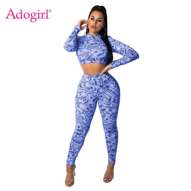 Adogirl Dollars Money Print Women Tracksuit Sexy Long Sleeve Pullover  T-shirt Crop Top + 4ef383a586d4