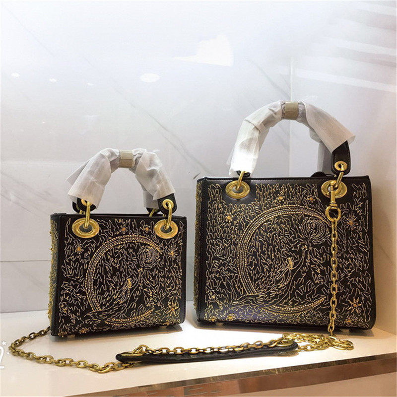 luxury designer Genuine Leather handbags women chain shoulder Messenger bags brand Embroidered tote ladies hand bags woman purse
