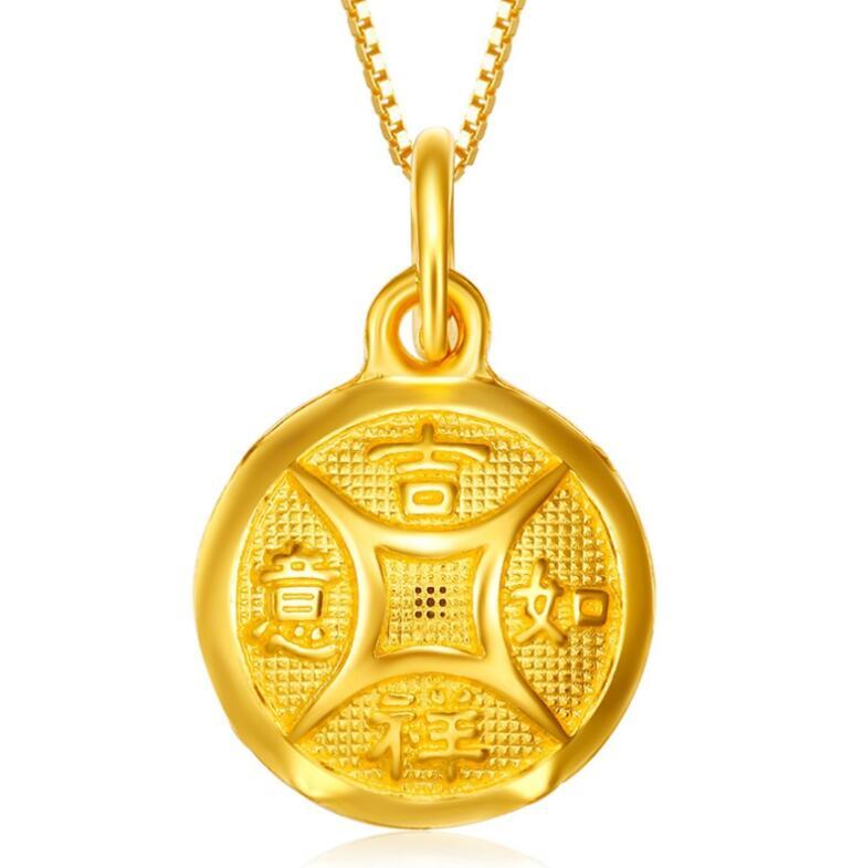 Pure 999 24k Yellow Gold Pendant /Best Gift Bless Lucky Good luck Coin Pendant / 1.3g все цены