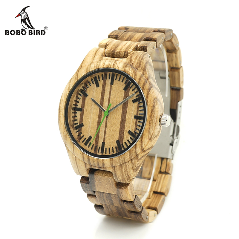 BOBO BIRD V-K28 Zebra Wood Wristwant Mens Style Wood Dial Green Second Hand Quartz Watch Wood/Leather Strap in Gift Box