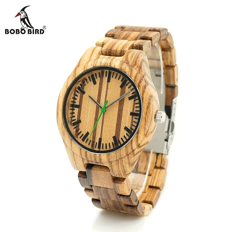 BOBO BIRD V-K28 Zebra Wood Wristwant Mens Style Wood Dial Green Second Hand Quartz Watch Wood/Leather Strap in Gift Box