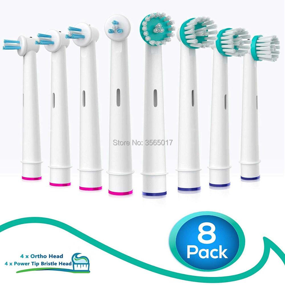 Generic Oral-B Braun Professional Ortho Brush Head & Power Tip Kit- Pk. Of 8 Compatible Orthodontic Electric Toothbrush Heads image