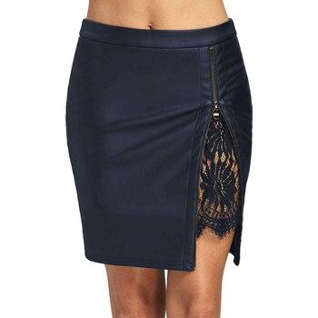 Faldas Skirts Womens Sexy Leather Skirts Lace Stitching Mini Tight Skirts Ladies Zip Front Slit Skirt Faldas Mujer Moda 2018 #Z юбка с разрезом и кружевом